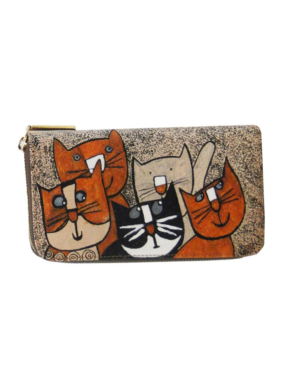 Leather hand made tattoo wallet cats