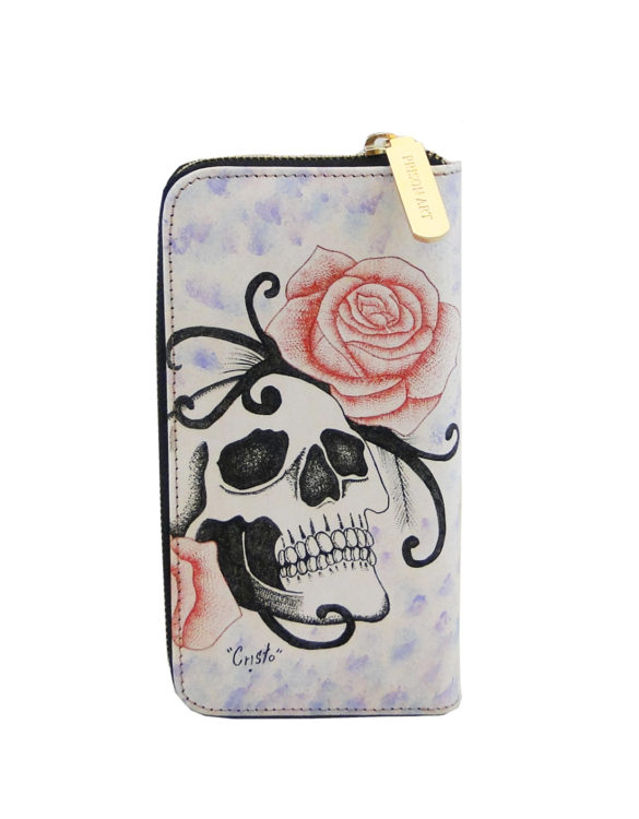 Leather hand made tattoo wallet skull and roses