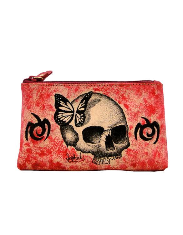 Makeup bag handmade tattoo skull butterlfy