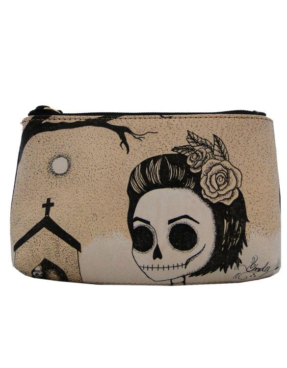 Makeup bag handmade tattoo skull girl