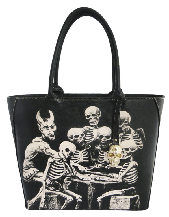 Oval handmade tattoo leather skulls and devil bag