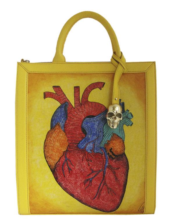 Vertical handmade tattoo leather heart portfolio