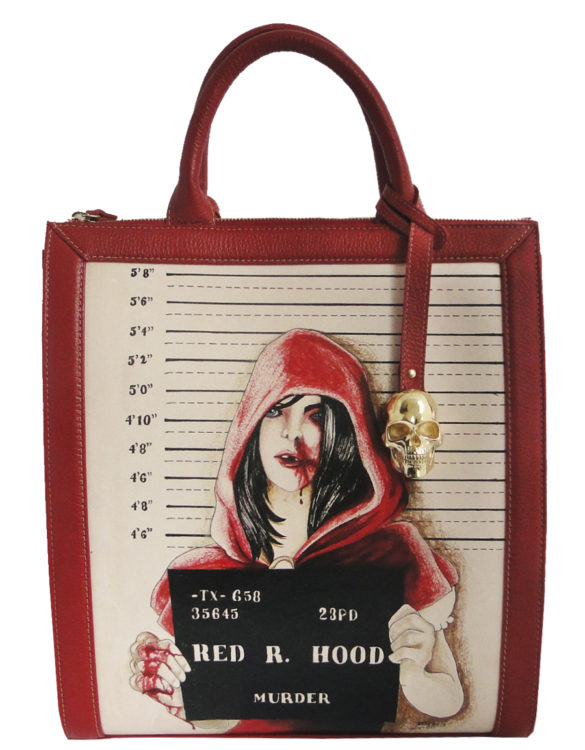 Vertical handmade tattoo leather red ridding hood portfolio