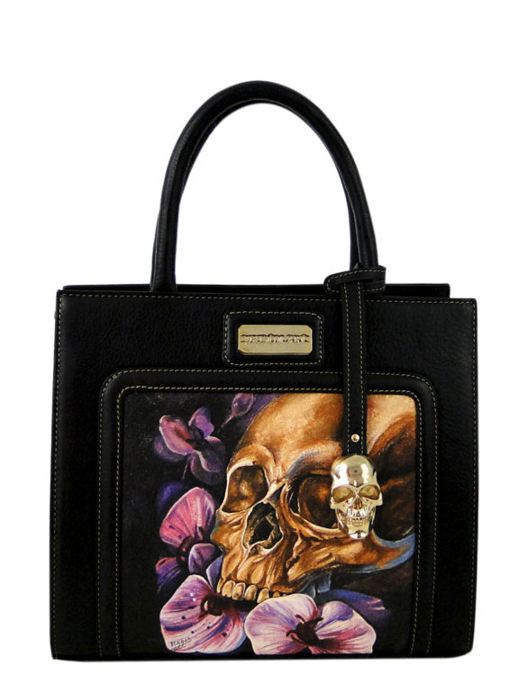 Horse leather purse hand made tattoo skull and flowers