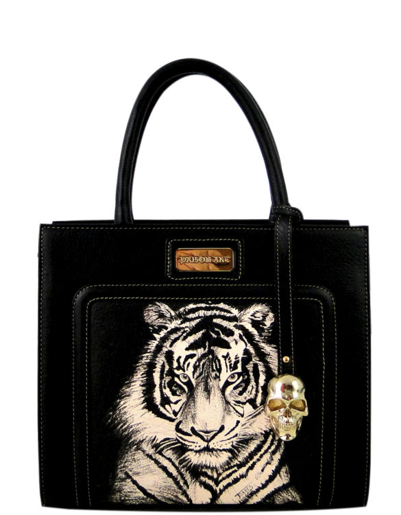 Horse leather purse hand made tattoo tiger