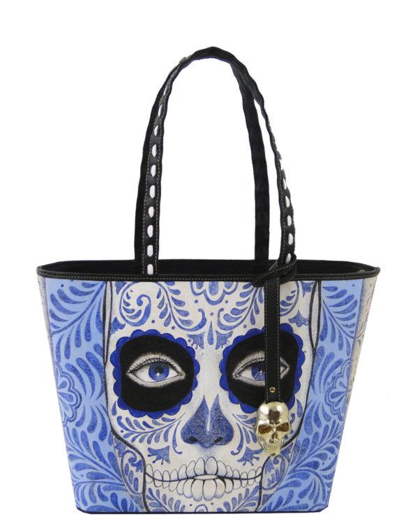 No side handmade tattoo leather bag blue catrina