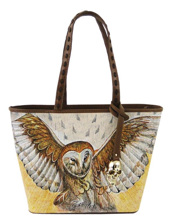 No side handmade tattoo leather bag owl