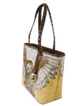 No side handmade tattoo leather bag owl2