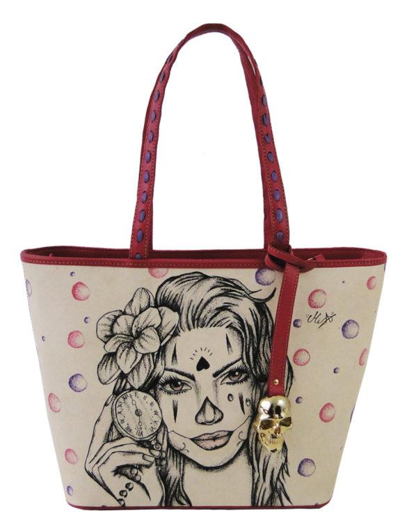 No side handmade tattoo leather bag pink woman