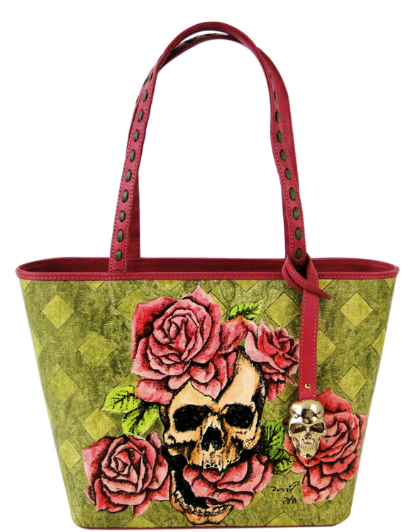 No side handmade tattoo leather bag skull and roses