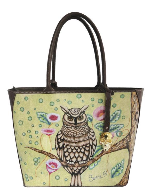 Oval handmade tattoo leather owl bag