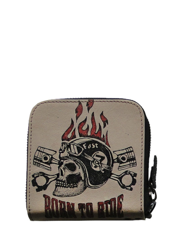 Biker handmade leather tattoo born to ride men wallet