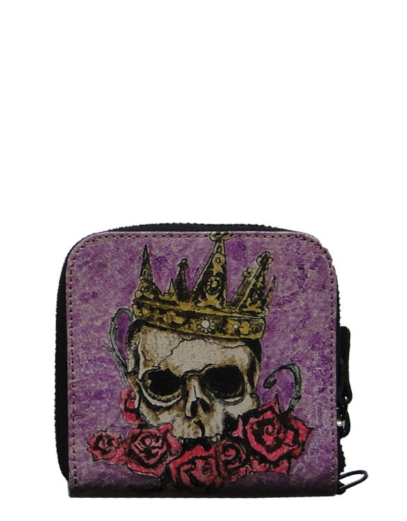 Biker handmade leather tattoo king skull men wallet