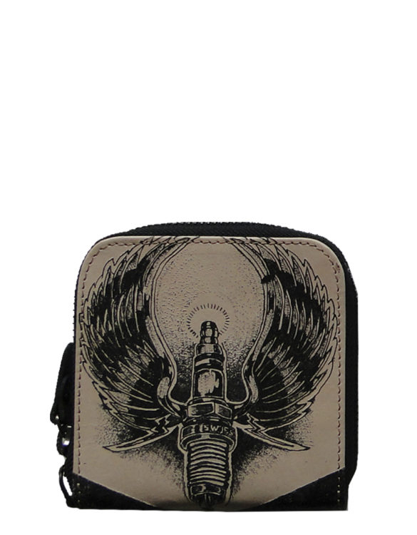 Biker handmade leather tattoo wings men wallet