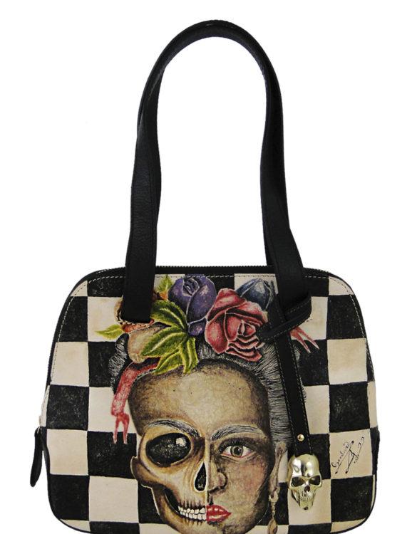 Flipped over handmade tattoo Frida skull bag