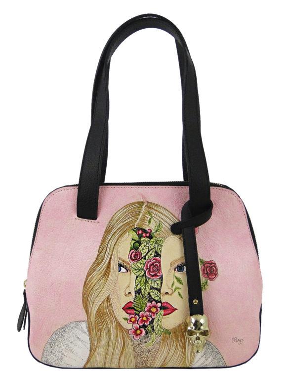 Flipped over handmade tattoo flower woman bag