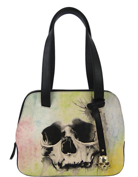 Flipped over handmade tattoo skull bag