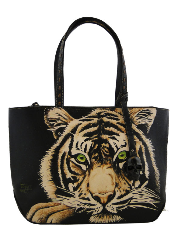 Necia leather handmade tattoo tiger bag