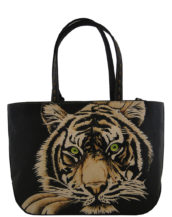 Necia leather handmade tattoo tiger bag2