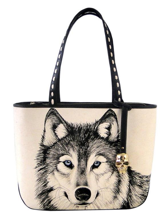 Necia leather handmade tattoo wolf bag2