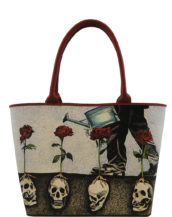 Big handmade tattoo leather growing roses bag2